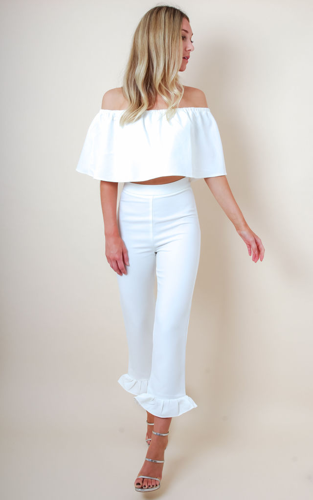 Frill Hem High Waisted Trousers - White by Pretty Lavish