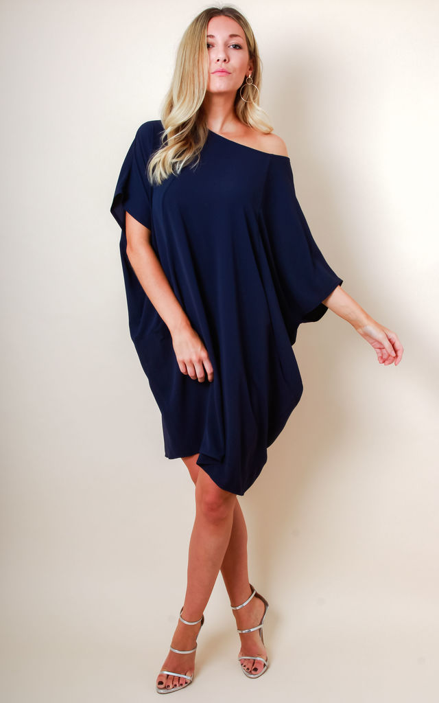 Oversized Slouchy Dress with Pockets - Navy by Pretty Lavish