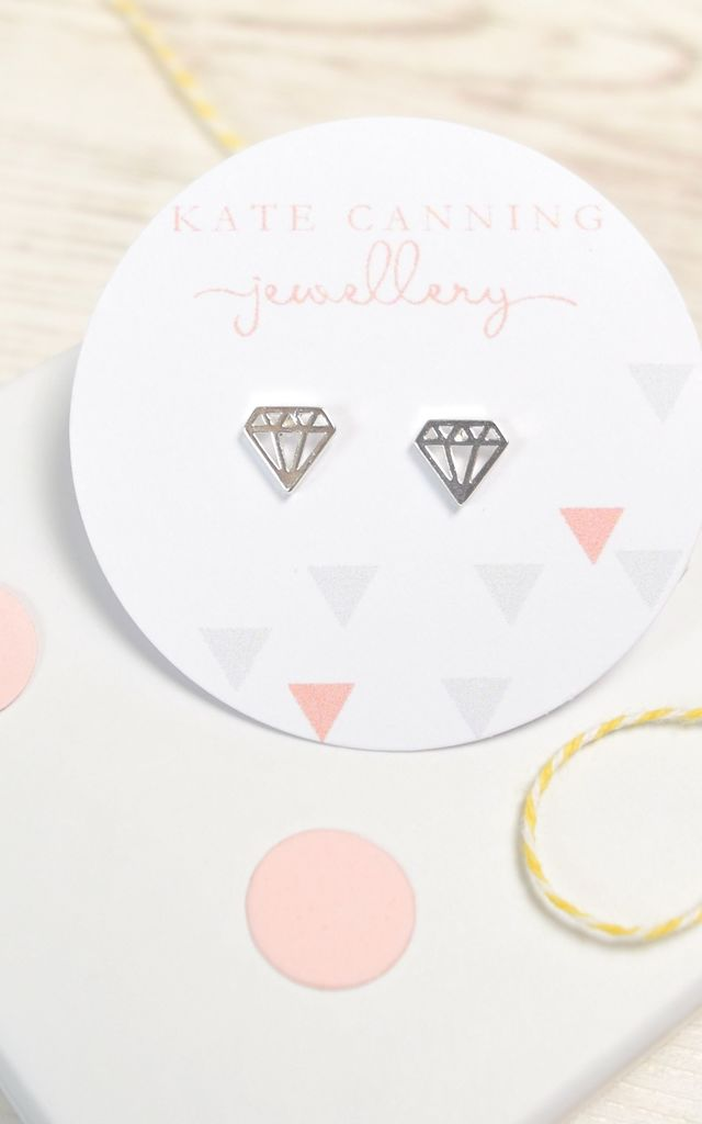 Geometric Diamond Silver Tone Studs by Kate Canning Jewellery