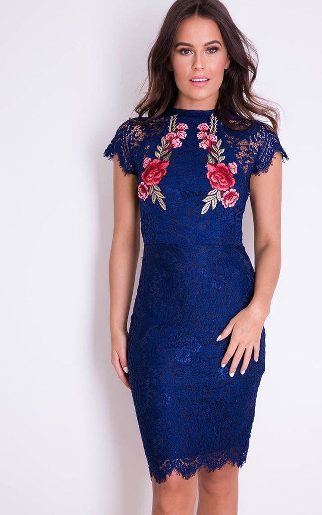 Layla Floral Applique Lace Dress Navy by Girl In Mind