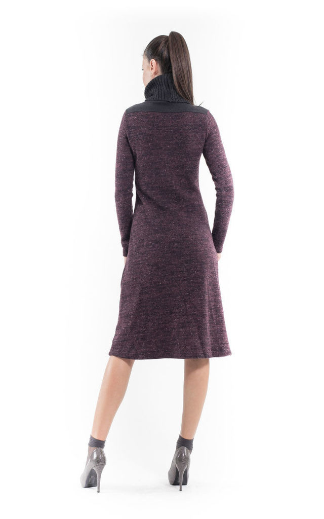 Wool Blend Polo Neck Dress by Conquista Fashion