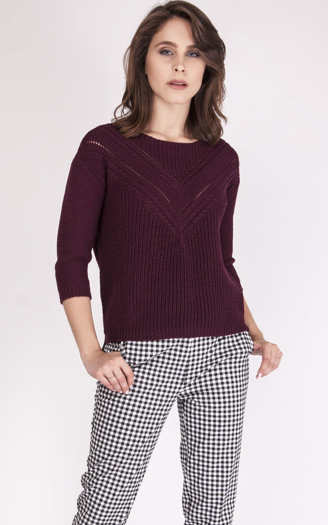 Openwork sweater - burgundy by MKM Knitwear Design