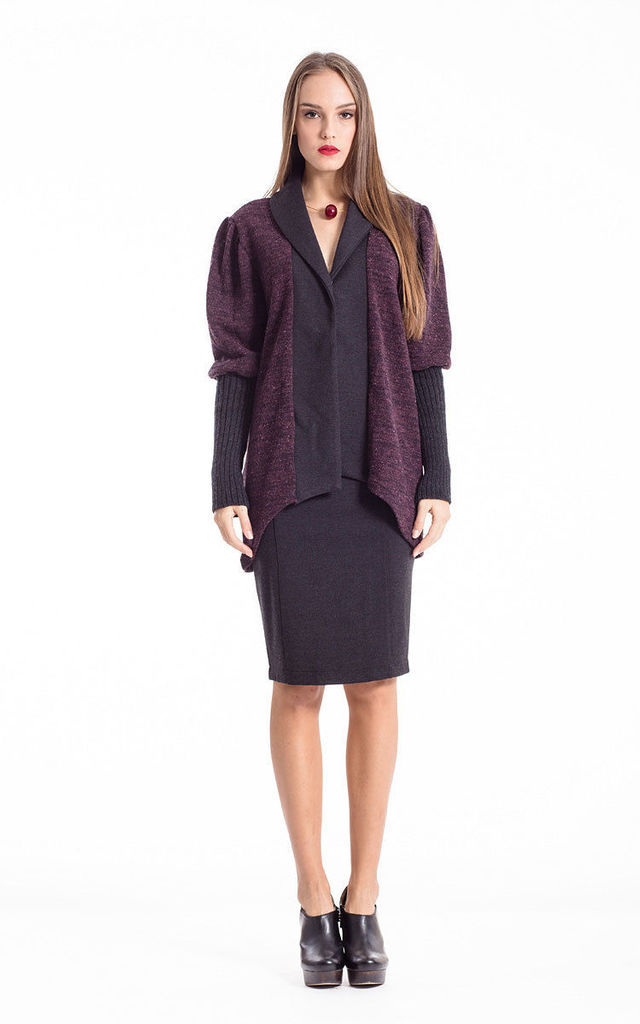 Sleeve Detail Open Front Cardigan in Purple/Black by Conquista Fashion