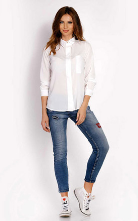 Classic white shirt with long sleeves by AWAMA