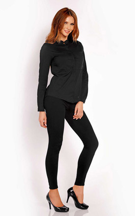 Black Silk Blouse With Long Sleeves by AWAMA