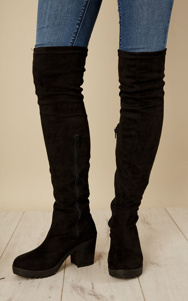 7cf4d192528 Black Suede Over Knee Boots By Truffle Collection