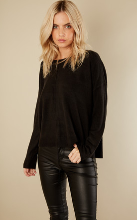 Black Long Sleeved Boatneck Short Knit by Noisy May
