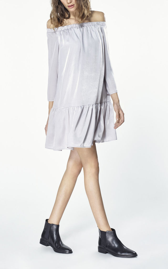 30ad7a5e5d9b ... Off the shoulder shift dress with gathered hem in silver by Paisie ...