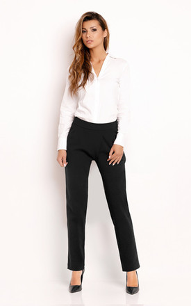 Black Comfort Waist Classic Trousers by AWAMA