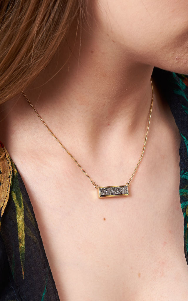 Rectangle Druzy Pendant Grey by DOSE of ROSE