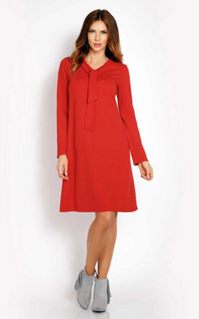 Red Ribbon Neck And Long Sleeves Dress by AWAMA