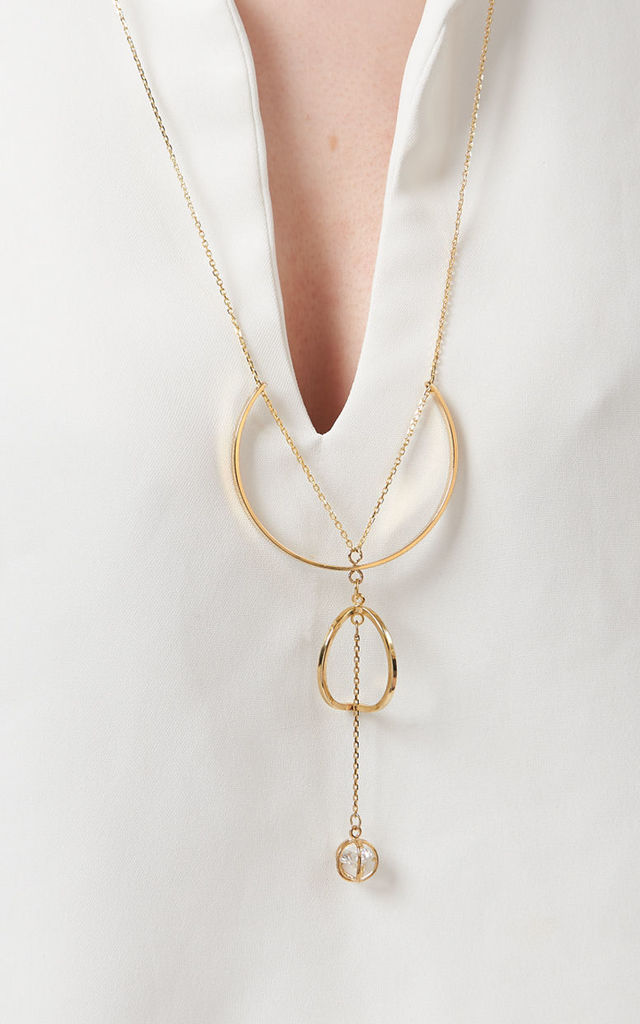 Delicate Geometric Necklace With Cubic Drop by DOSE of ROSE