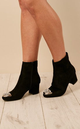 Black Jewelled Toe Cap Boots by Bella and Blue