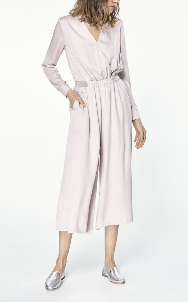 cropped jumpsuit with wrap front in pink by Paisie