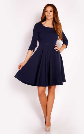 Navy Mini Dress With 3/4 Sleeves by AWAMA