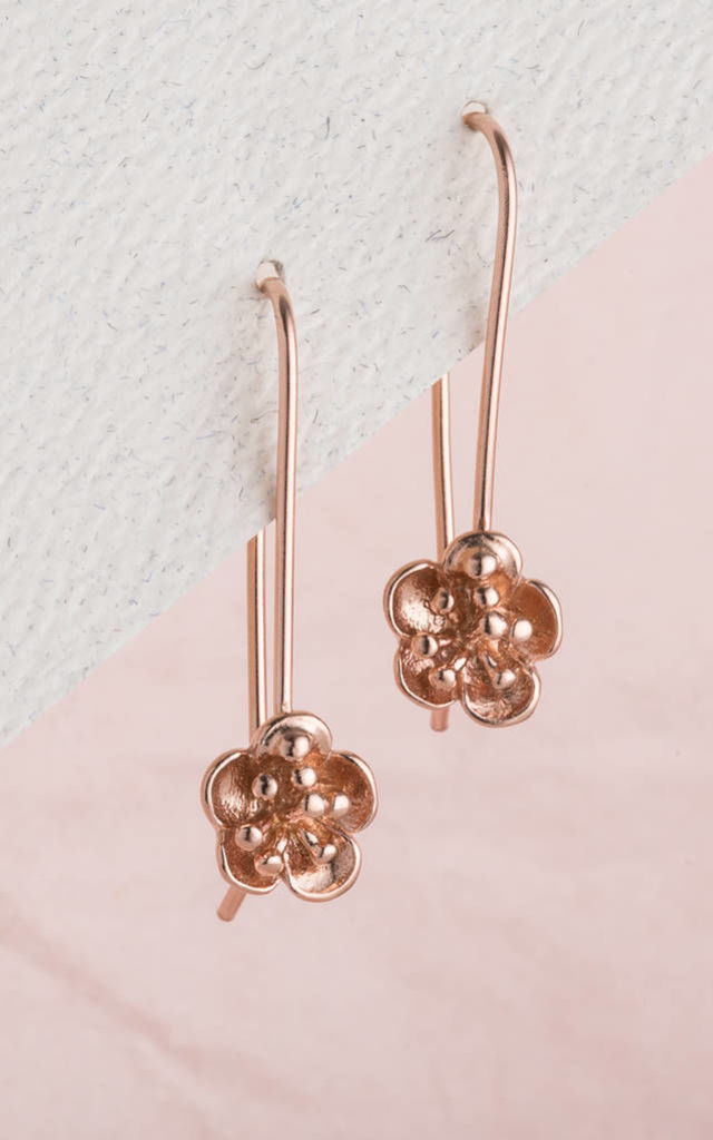 Flower Hanging Earrings in 9ct Rose Gold by Posh Totty Designs