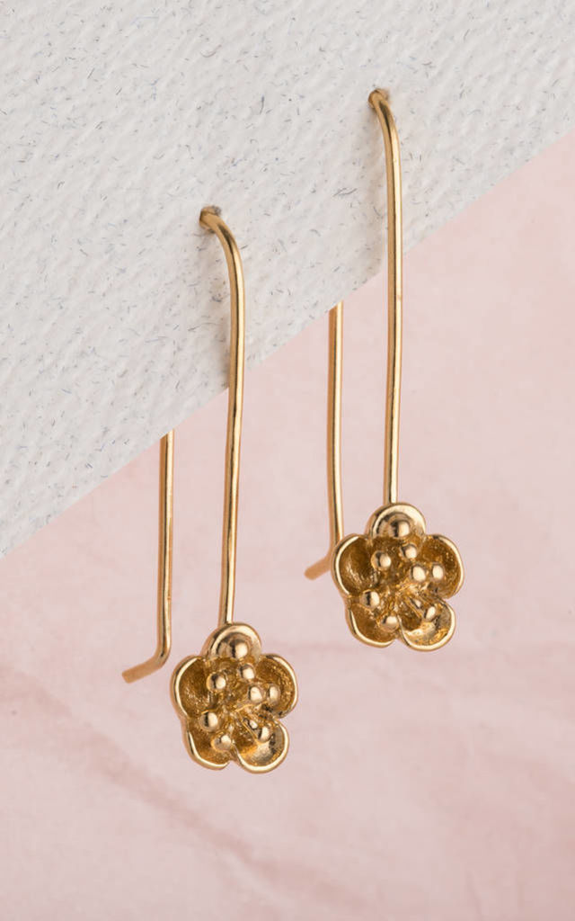 Flower Hanging Earrings in 18ct Yellow Gold by Posh Totty Designs