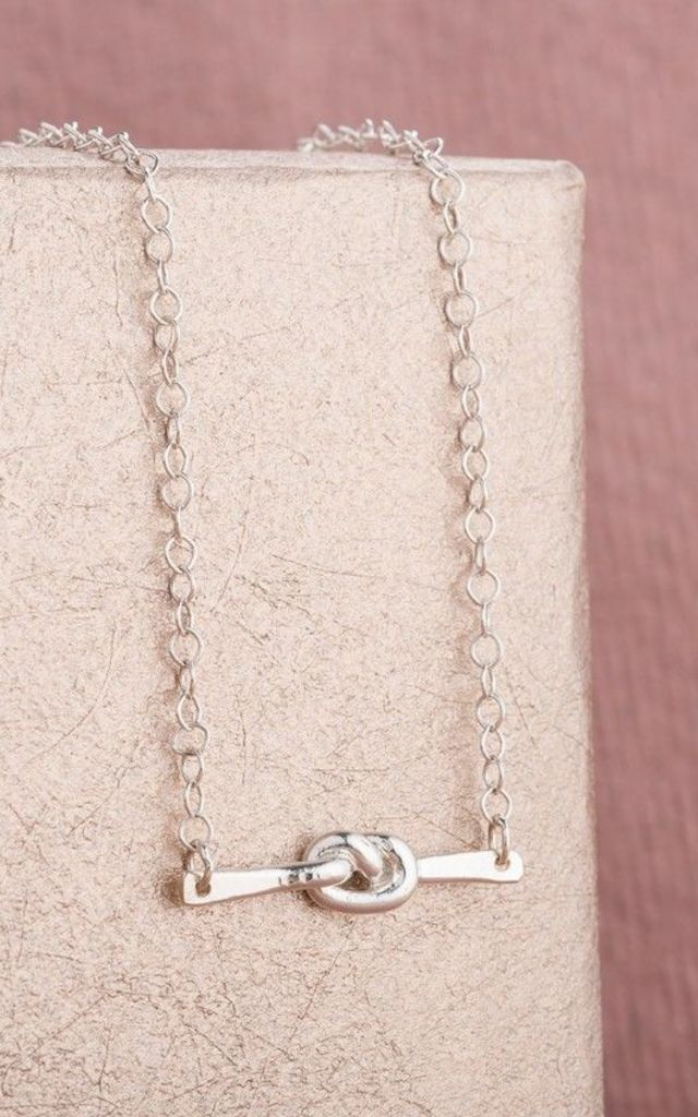 Mini Tie The Knot Necklace in 925 Sterling Silver by Posh Totty Designs