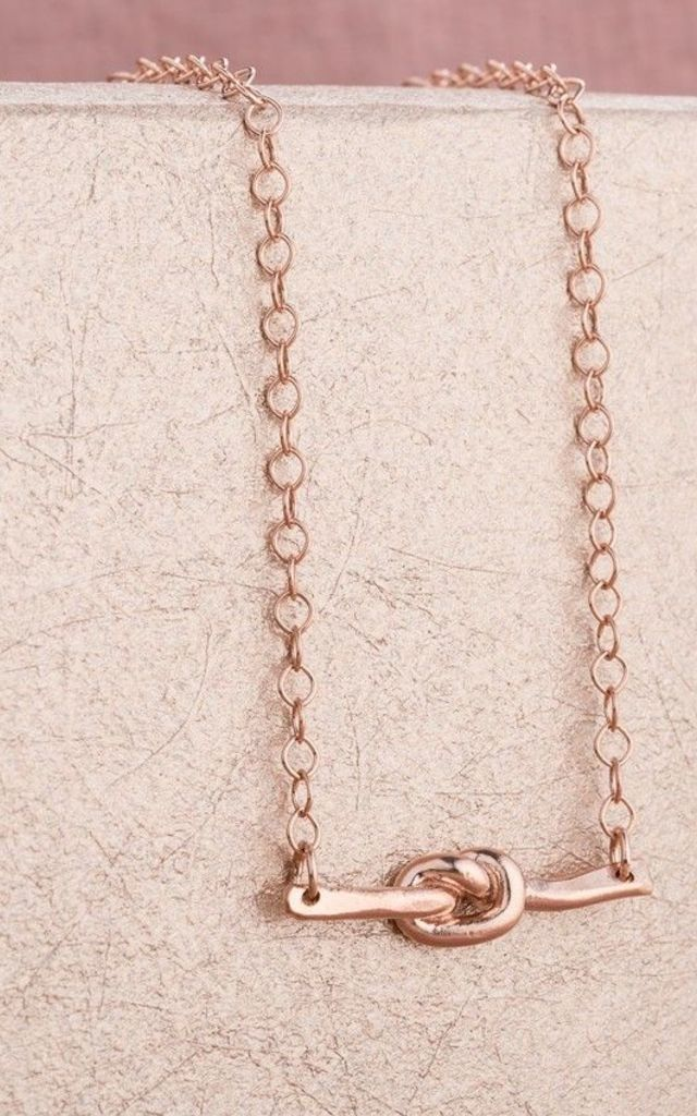 Mini Tie The Knot Necklace in 9ct Rose Gold by Posh Totty Designs