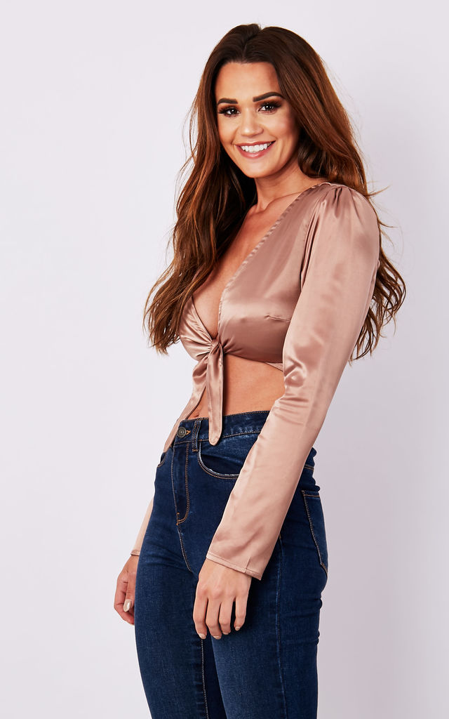 Front Tie Full Sleeves Satin Bronze Crop Top by MISSTRUTH