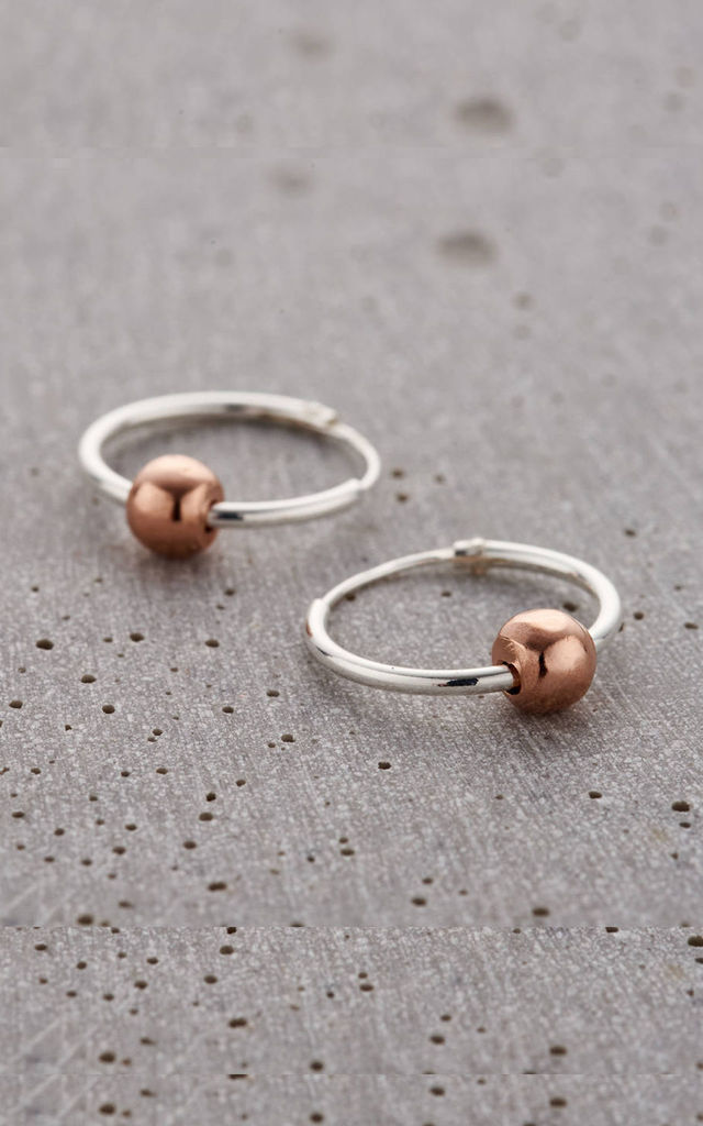 Ball Hoop Earrings in Sterling Silver and Rose Gold by Posh Totty Designs