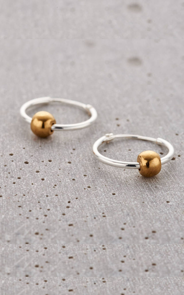 Ball Hoop Earrings in Sterling Silver and Yellow Gold by Posh Totty Designs
