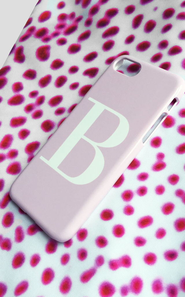 Soft pink and white alphabet phone case by Rianna Phillips