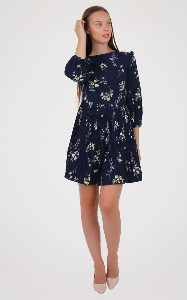 Navy Crew Neck  Puff Sleeve Detail Floral Print Pleated Dress by MISSTRUTH