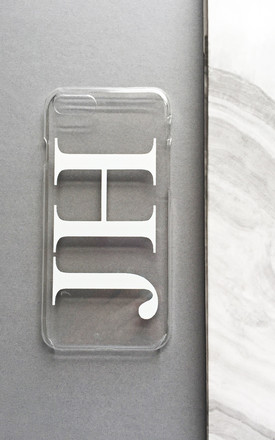 Clear & white monogram phone case with large initials by Rianna Phillips