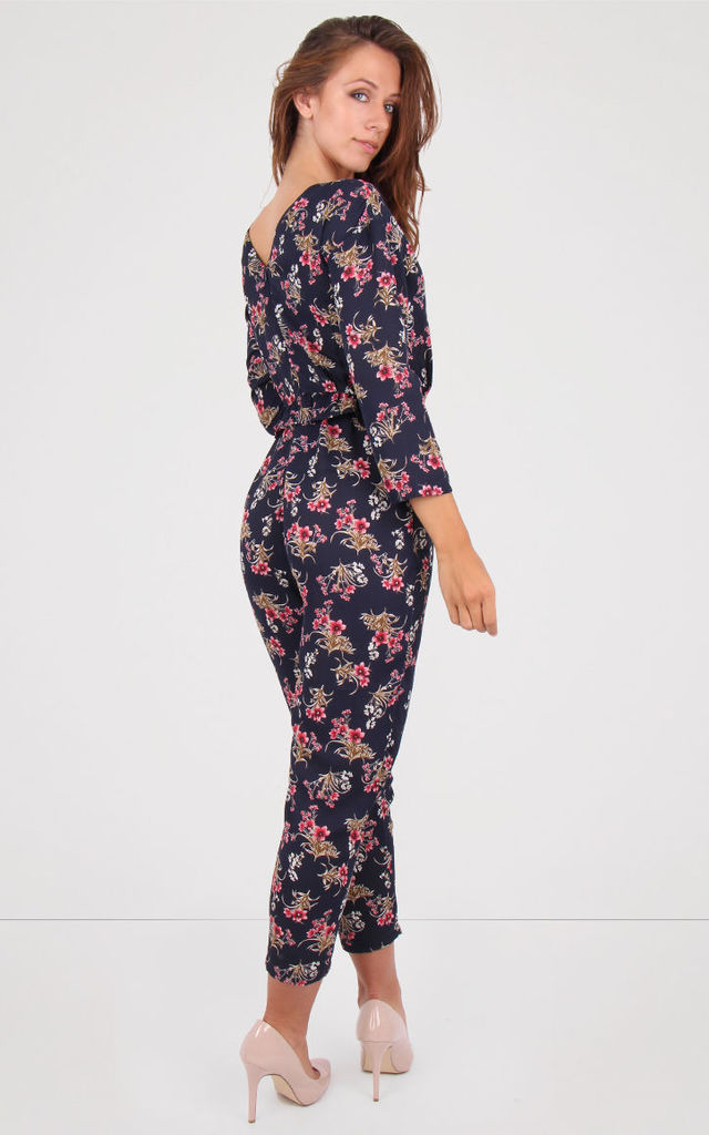 Navy Floral Print V Neck Peplum Waist Jumpsuit by MISSTRUTH