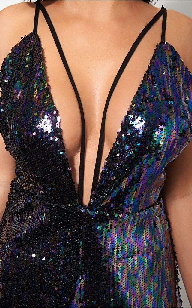 Luna Multicoloured Strappy Sequin Playsuit by The Fashion Bible