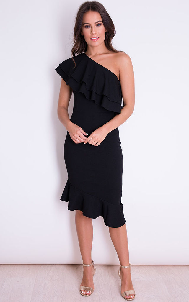 Bella One Shoulder Frill Midi Dress Black by Girl In Mind