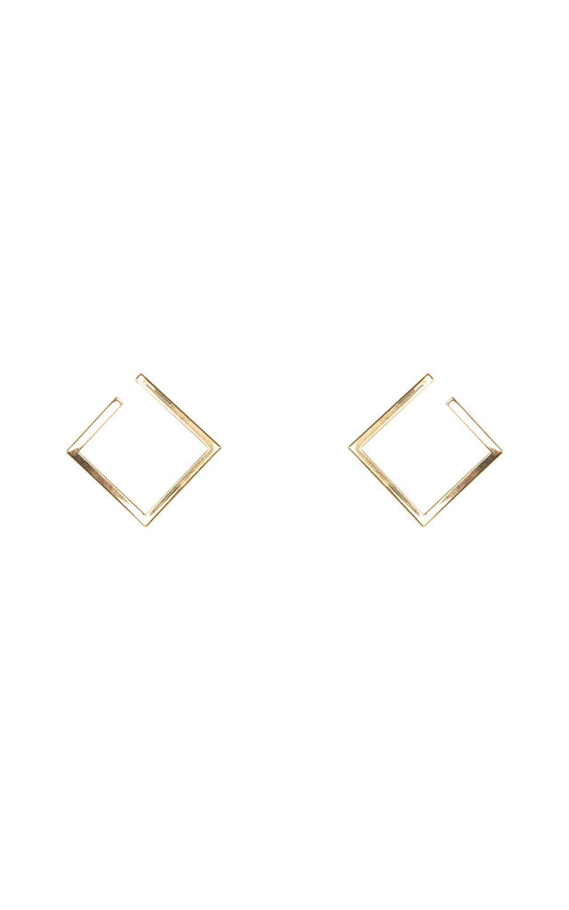 Open Square Geometric Earrings - Gold by Pretty Lavish