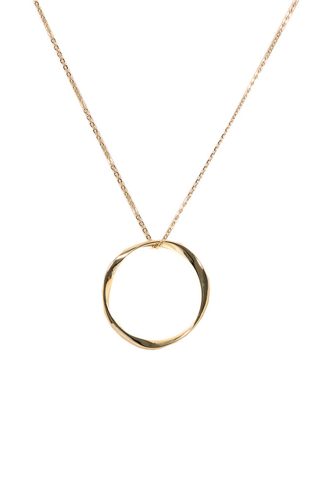 Oversized Circle Pendant Necklace - Gold by Pretty Lavish