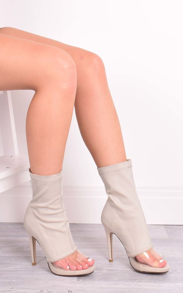 Lara Nude Perspex Front Ankle Boots by Solewish