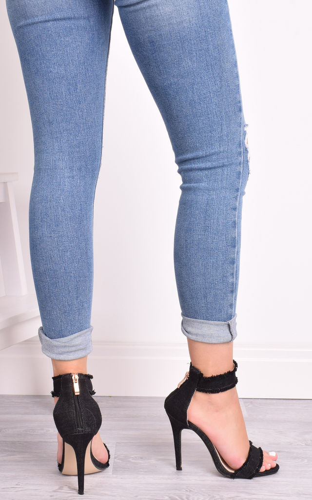 Evie Black Denim High Heel Sandals by Solewish