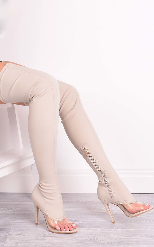 Chantelle Nude Lycra Over The Knee Boots by Solewish