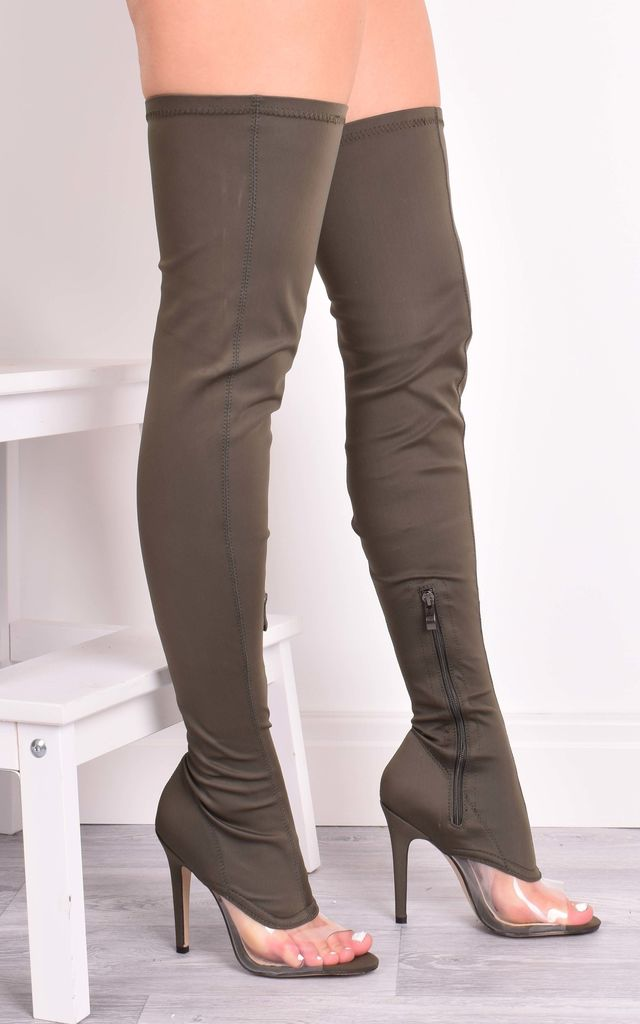 Chantelle Khaki Lycra Over The Knee Boots by Solewish