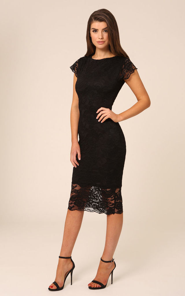Faye Lace Black Backless Midi Dress by Honor Gold