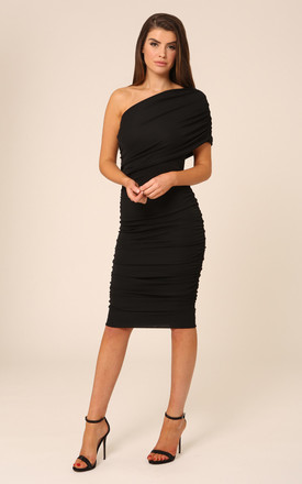 Alice One Shoulder Black Bodycon Midi Dress by Honor Gold