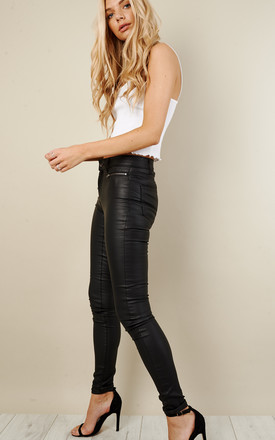 Black Coated Jeans with Zip Detail by VILA