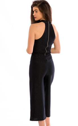High Neck Stripe Print Culottes Jumpsuit -Navy by Npire London