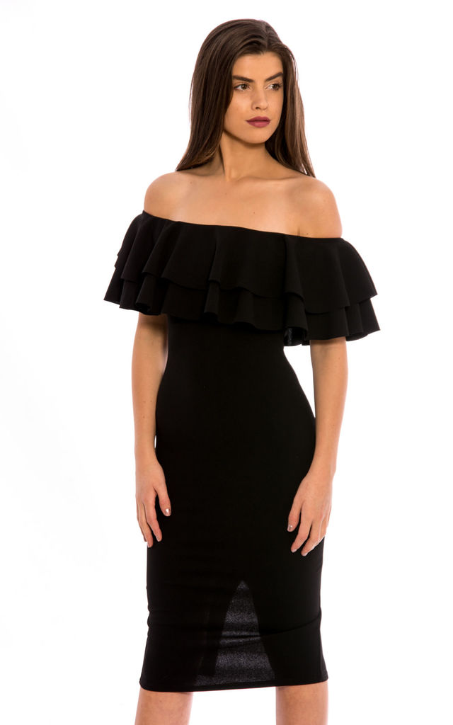 Off Shoulder Frill Midi Dress - Black by Npire London