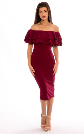 Off Shoulder Frill Midi Dress – Wine by Npire London