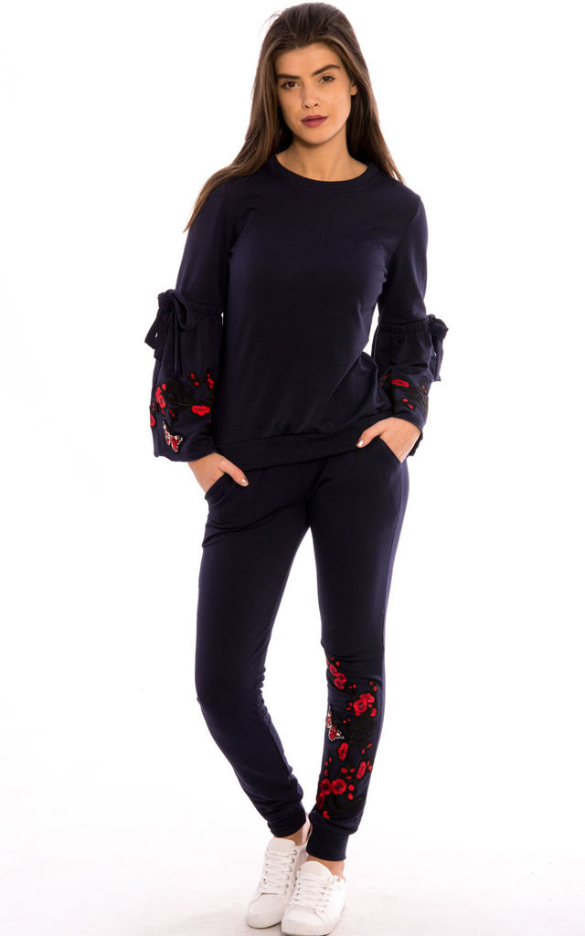 Bell Sleeves Embroidery Detail Loungewear Co-Ord Set- Navy by Npire London