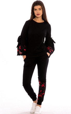 Bell Sleeves Embroidery Detail Loungewear Co-Ord Set-Black by Npire London