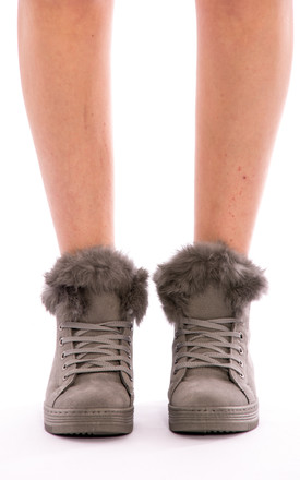 Faux Fur Ankle Boot - Grey by Npire London