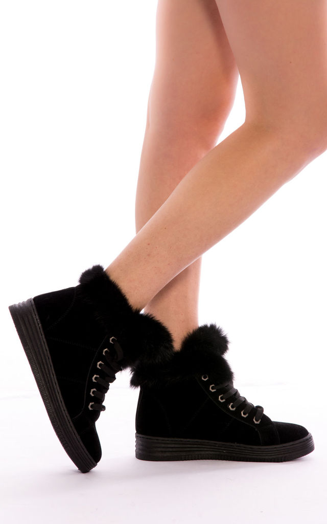 Faux Fur Ankle Boots -Black by Npire London