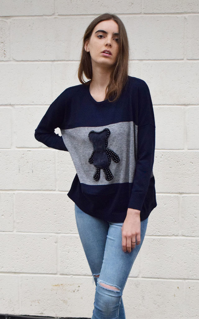 HARPER LOOSE FIT JUMPER WITH FAUX FUR TEDDY BEAR by Lucy Sparks