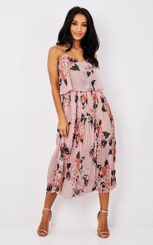f57e9e3ef3464 Pink Floral Print Pleated Cami Midi Dress | URBAN TOUCH | SilkFred